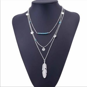 Silver 3 Layer Feather Necklace